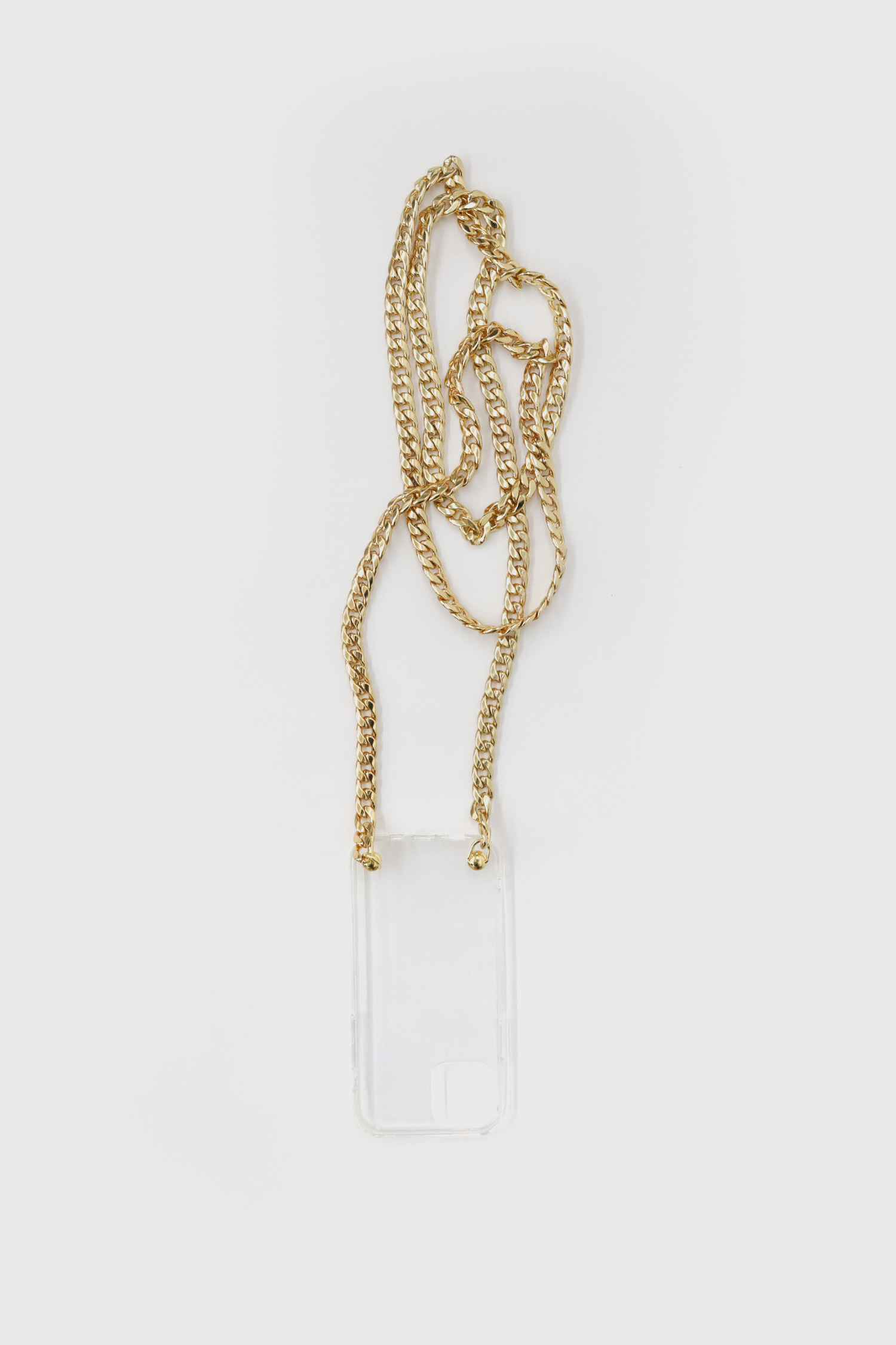Gold long chain cell phone strap