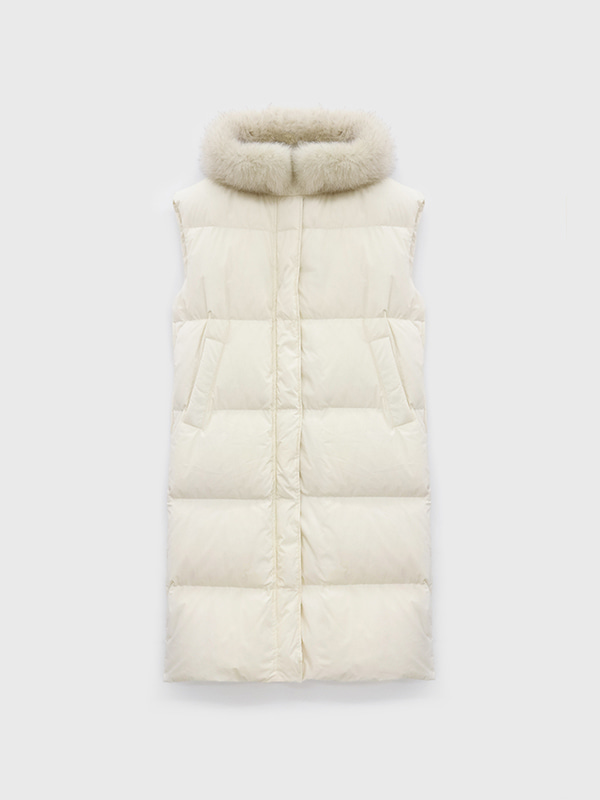 Goose down long vest